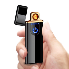 Cigarette Electronic Lighter USB Ultra-thin Metal Windproof Flameless Rechargeable Electric Coil Lighter Plasma Touch Sensing