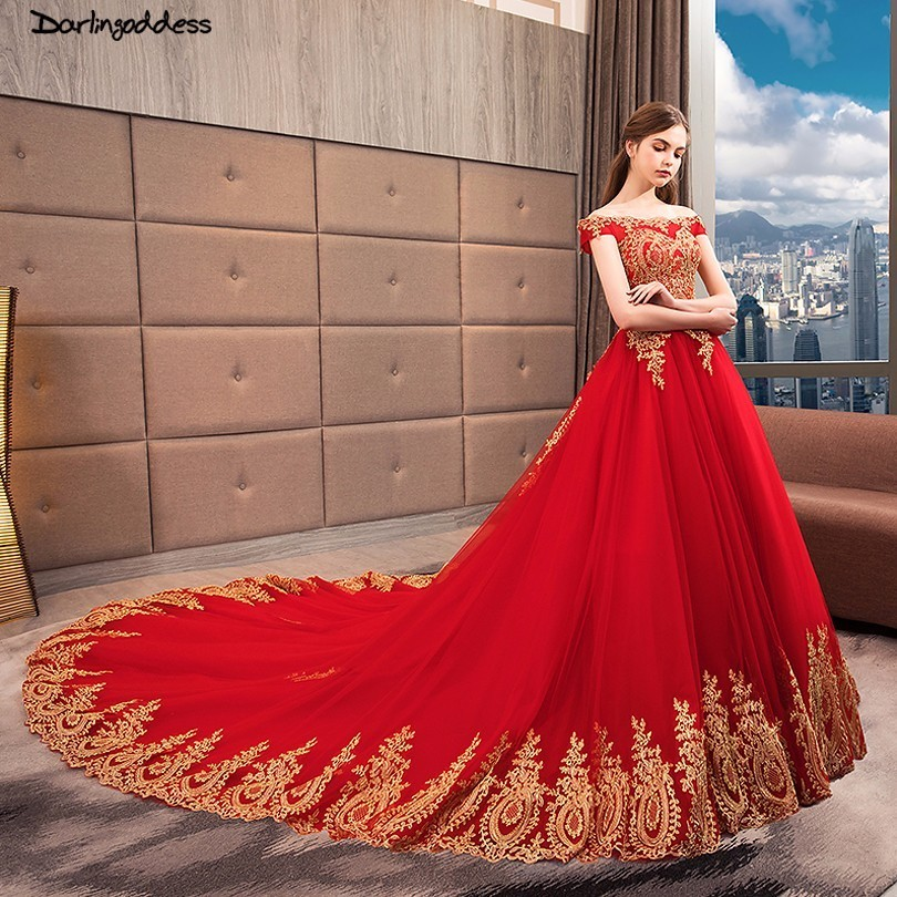 Vestido De Noiva 2018 Princess Wedding Dress Ball Gown Off: Vestido De Noiva Plus Size Red Wedding Gown Gold Lace