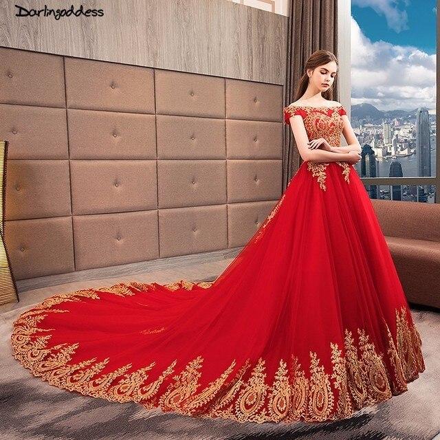 Vestido De Noiva Grande Taille Robe Mariee Rouge Or Dentelle Princesse Robes Bal Dubai 2018 Mariee