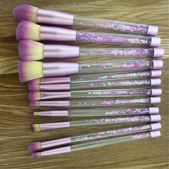 12pc Glitter Crystal Makeup Brush Set Diamond Pro Foundation Brushes Concealer Make Up Brush Mermaid Facial Eyeshadow Brushgift