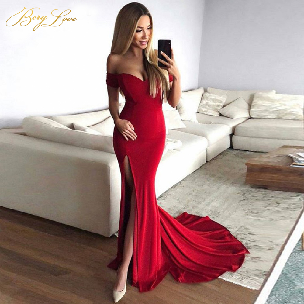BeryLove Red Elegant Formal   Evening     Dresses   2019   Evening   Gowns Long Sexy Slit Prom   Dress   Special Occasion   Dresses   Robe De Soire