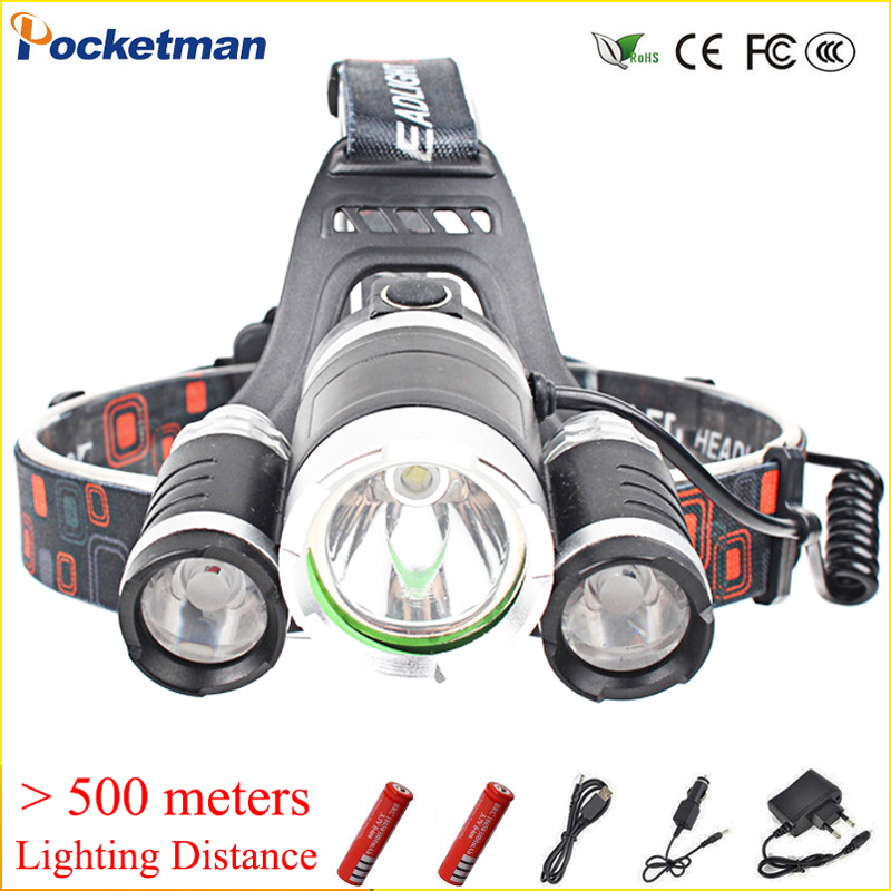 10000Lm CREE XML T6 LED Headlight Headlamp Head Lamp Light 4mode +2x18650 battery+EU/US Car charger for camping/fishing Lights