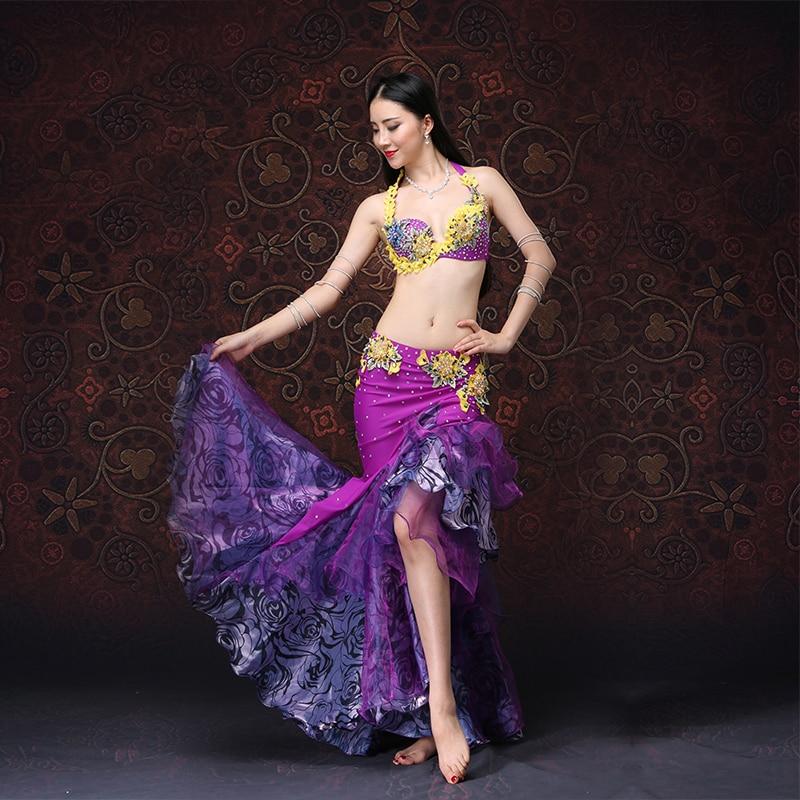 Belly Dance XL Size Push Up Bra High Grade Costumes Set Skirt Adjustable 2pcs Purple Eastern Style