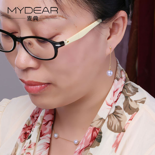 MYDEAR Fine Women Gold Drop Earrings Fantasy Natural 8.5-9mm Akoya Pearls Earrings White Round High Luster Pearls Beads Jewelry
