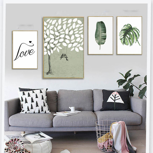 Us 4 98 40 Off New Customization Nordic Tropical Plants Leaves Heart Tree Love Poster Simple Creative Double Decorative Wall Painting In Painting