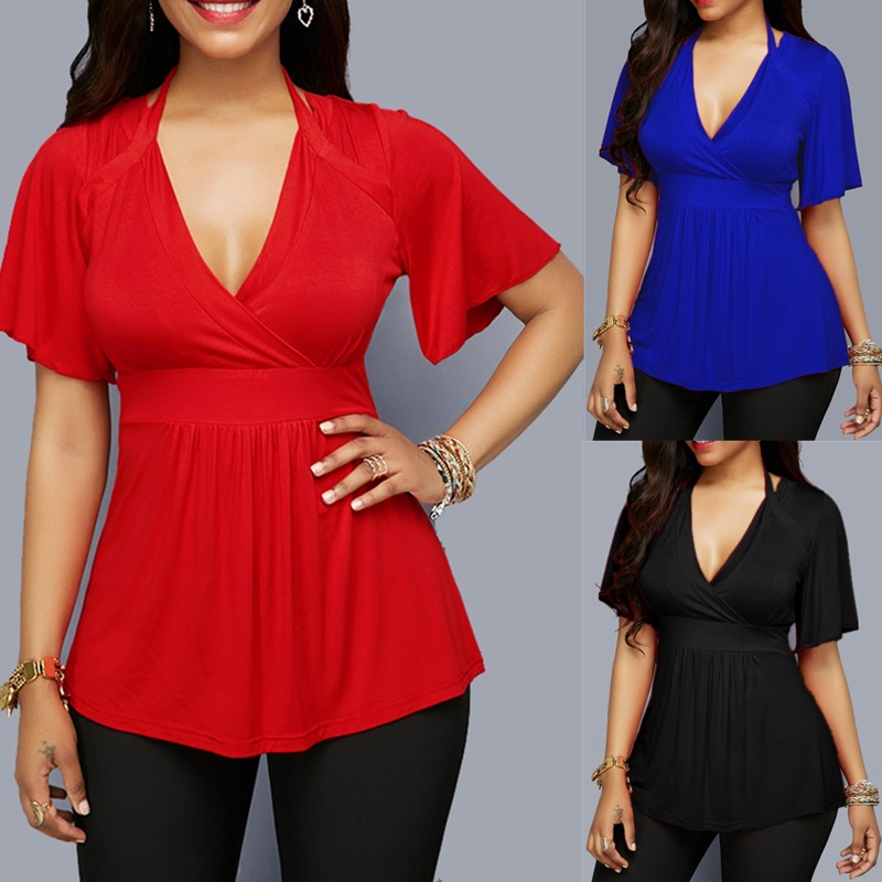2019 Summer Solid Color Was Thin And Deep V Tie With Hanging Neck Women's Shirt