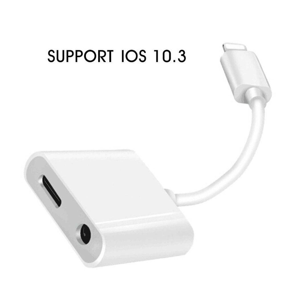bilder für 2 in 1 Beleuchtung Adapter Splitter 3,5mm Kopfhörer Kopfhörer Jack Aux Audio und Gebühr Für iPhone 7 Plus UNTERSTÜTZUNG iOS 10,3