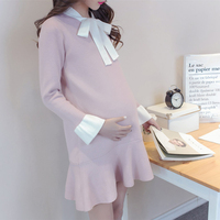 Hot pregnant dress bow maternity dresses with ruffles knitted pregnancy clothes for pregnant women elegant plus maternity gown