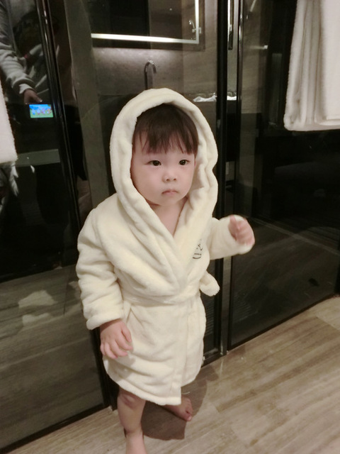INS Nightgown Nightwear Hooded Baby Kids Bathrobes Sleepwear Winter ...