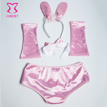 Sexy White/Pink Easter Bunny Costume