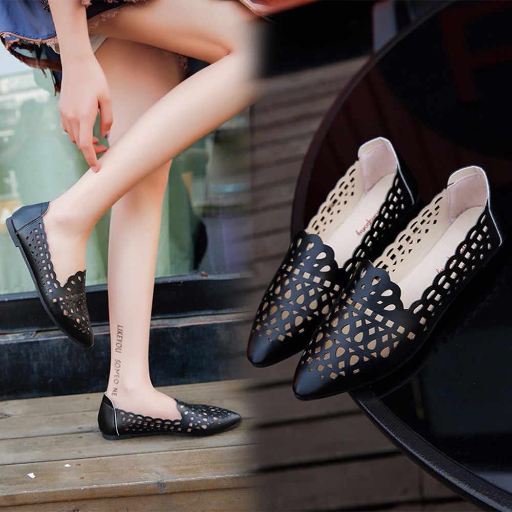 Mùa hè Thời Trang Nữ Màu Trơn Khoét Hở Vuông Ngón Chân Đế Bằng Da PU Mềm Mại Giày Người Phụ Nữ Màu Be Bãi Biển Phẳng cho Bé Gái giày