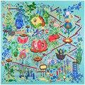 130x130 Квадратных Шарф Женщин Растительного Приключения Шелковые Шарфы Платки Хиджаб Платье Летнее Солнце Платок Горячая