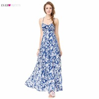 Long Summer Style Evening Dresses Plus Size Print Spaghetti Strap Dresses Ever Pretty AS08906 2017 High