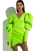 Lime Green Mini Bodycon Dress Women Clothes 2019 Dresses Woman Party Night Puffy Sleeves Neon