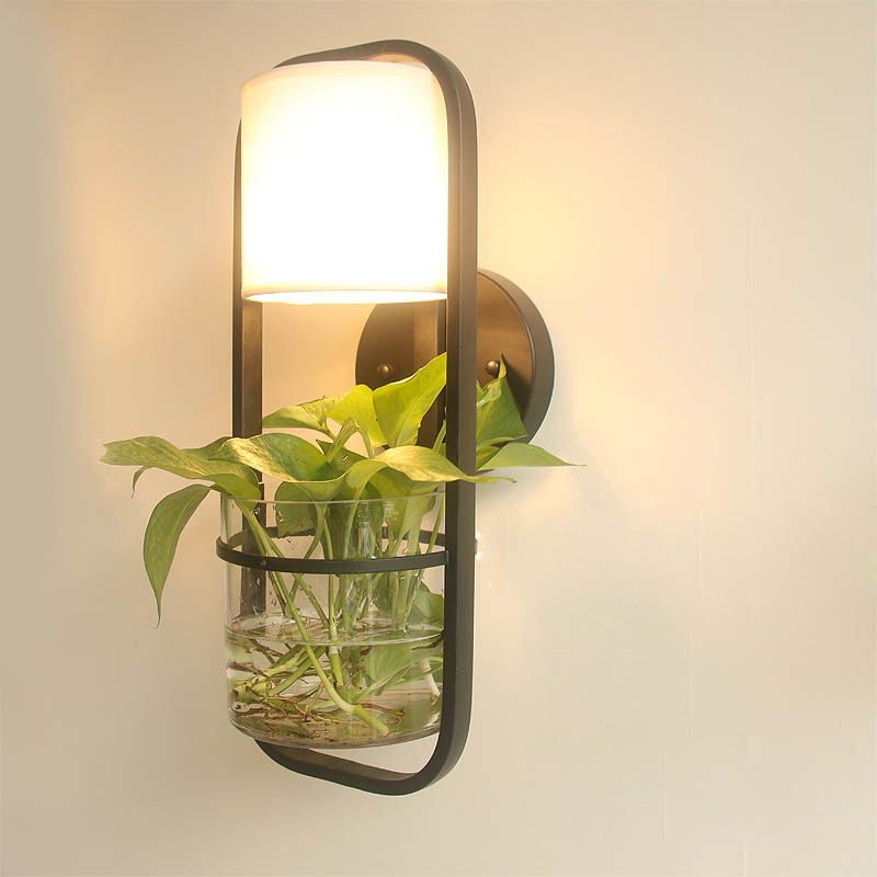 Nordic Wall Lamp with Hydroponics Succulent Plants Glass Pot for Living Room Beside Light Corridor Sconce