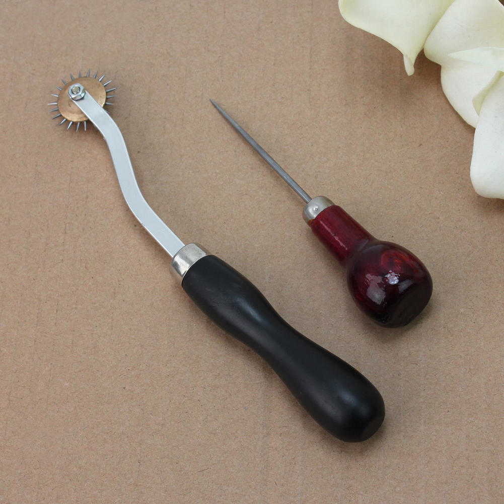 115mm Craft Cloth Awl Tool Sewing Hole Punching Wooden Handle  for Leather Paper