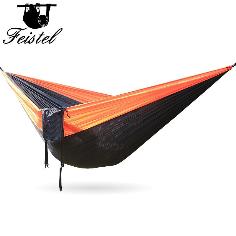 Camping Hammock Double Camp  Portable Lightweight Nylon Fabric for Outdoor Travel Suspension Handy Hammock 300*200cm Hammocks Furniture - title=