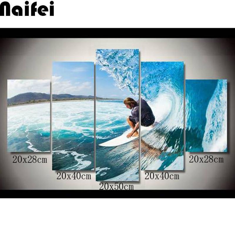 5D Diamond Painting 5pcs set Men Water Wet Surf Group diy 100 Full Resin Square Diamond