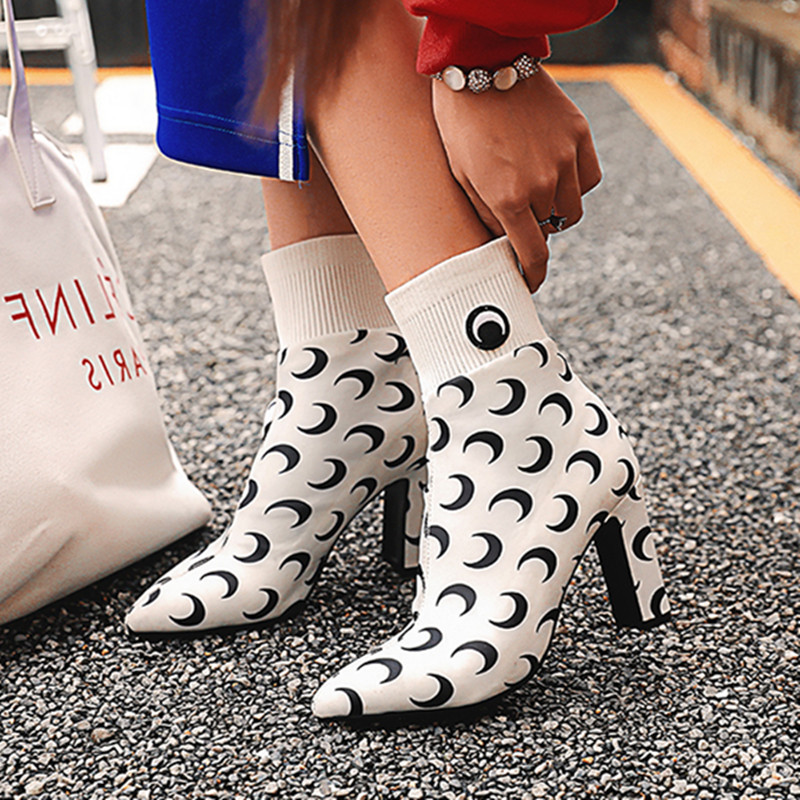 Prova Perfetto New Style Knit Sock Boots Women Mid-Calf Pointed Toe Elastic High Heel Boots Apring Autumn High Heel Women Boots stylesowner 2018 new arrival chunky heel lace up mid calf boots patchwork elastic sock boots women slim real leather retro boots