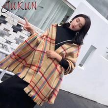 Winter Plaid Cashmere Blanket Scarf Women Warm Striped Scarves Long Wrap Shawl Fashion Ladies Scarfs