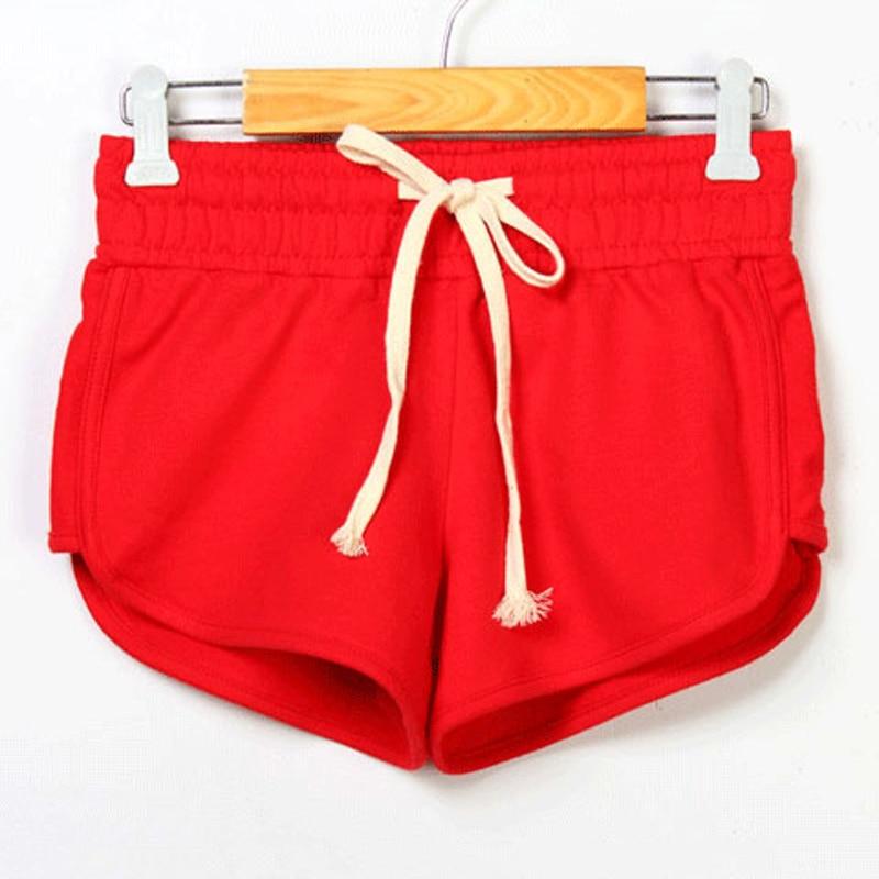 Female Summer Sport Shorts Women Elastic Waist Short Pants Women Running Loose Solid Cotton Yoga Short Femme Feminino