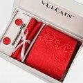 Red paisley corbata y pañuelo + mancuernas + clip & caja de regalo 5 sets rojo Jacquard corbatas gravatas casual envío gratis