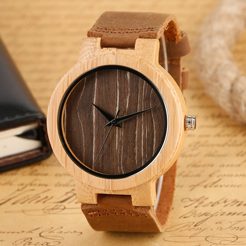 Nature Wood Man Watches Bamboo Round Dial Brown Genui
