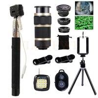 Cell Phone Lenses Selfie Lamp Tripod 8X Zoom Telephoto Wide Angle Macro Fish Eye Fisheye Lens