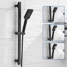 Barre coulissante pour douche à montage mural, noir de haute qualité, ensemble de rails coulissants réglables à 3 fonctions, douche de Style minimaliste