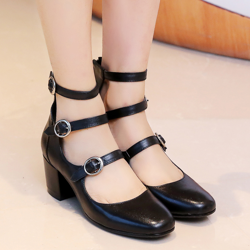 ФОТО New Arrival Elegant Women Sandals 2017 Square Toe Square Heels Sandals High-quality Black Shoes Woman Plus US Size 4-10.5