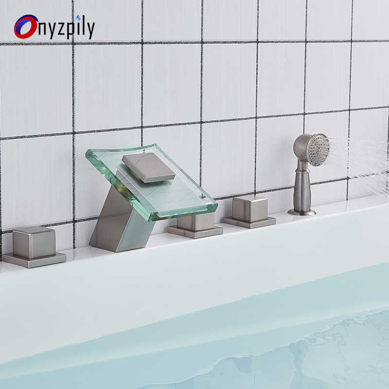 LED Color Changing Bathtub Faucet Waterfall Spout Tub Sink Mixer Tap Chrome Bathroom Hot Cold Water Faucet with Handshower