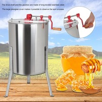 Professional 4 Frame Stainless Steel Manual Honey Extractor Apiary Sling Drum Bee Honey Harvest Uncapping Knife Beekeeping Tools