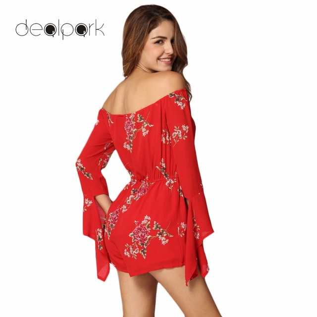efd13d2fe7aa New Fashion Sexy Women Jumpsuit Floral Print Off Shoulder Backless Long  Sleeves Casual Holiday Beach Playsuit
