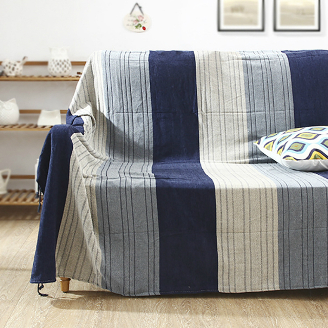 Mediterranean Style Striped Blanket Navy Color Chenille Simple Sofa Cover Non Slip Warm Sheets Ribbon