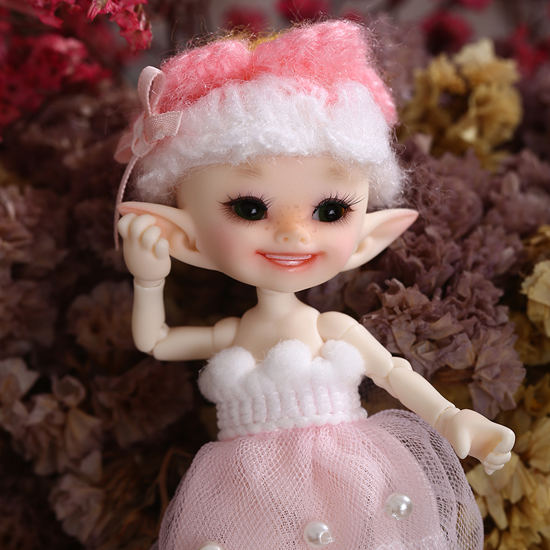 Free Shipping Fairyland FL Realpuki Popo BJD Doll 1 13 Pink Smile Elves Toys