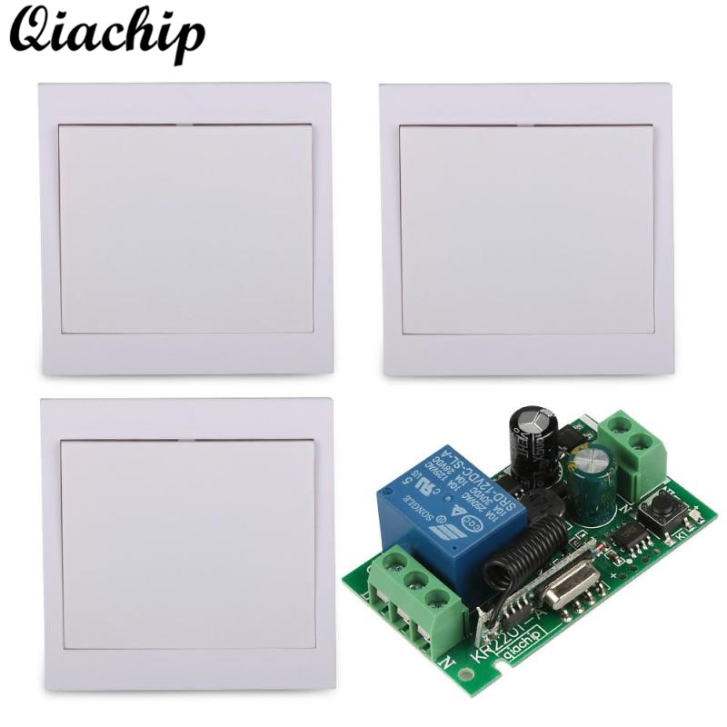 QIACHIP AC 110V 220V 1CH 433mhz Wireless 86 Wall Panel Remote Control Switch RF Receiver For Smart Home Room Bulbs TX Stairway