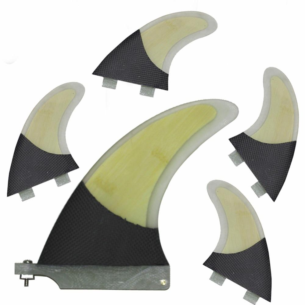 Tout En Un Unique Centre 6 ''Performance Planche De Surf Ailettes de Carbone Fiber Et Placage De Bambou Surf Ailettes Et FCS G5 (4 PCS) Surf ailettes