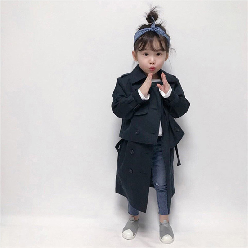 Girls Trench Coat Spring Children Clothing Kids Blazer Jackets Baby Girls Two-piece Clothes Fashion Infant Toddler Outwears D005