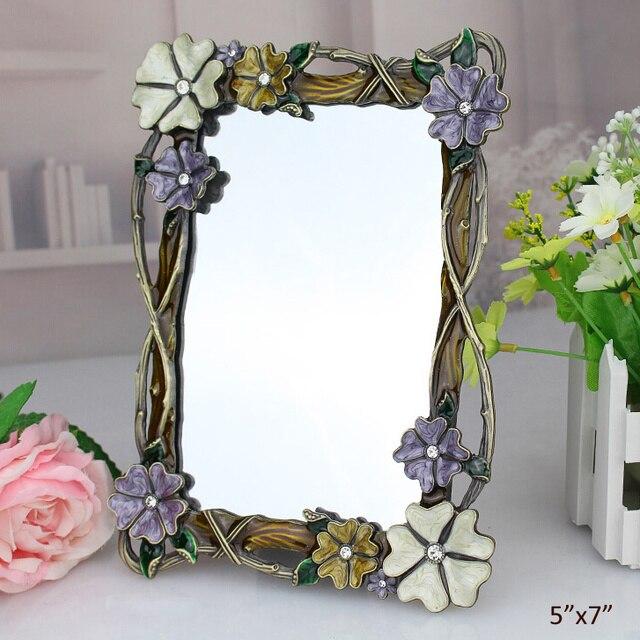 Bon Antique Bronze Rhinestones Jeweled U0026 Enameled Floral Metal Framed Tabletop  Mirror 5x7 Inch