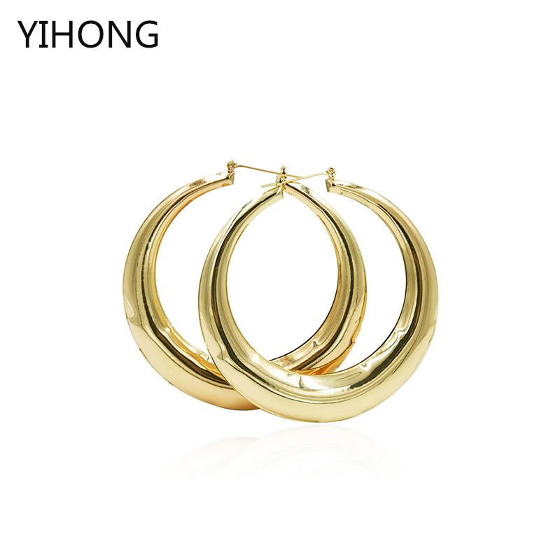 Hot Sale Basketball Wives Smooth Hoop Earrings Gold Big Round Fashion Earrings for Fashion Women Jewelry