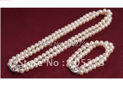 Pearl Jewelry AA 6-7MM White Genuine Freshwater Pearl Necklace Bracelet Jewelry Set Girls Womens Jewelry New Free ShippingPearl Jewelry AA 6-7MM White Genuine Freshwater Pearl Necklace Bracelet Jewelry Set Girls Womens Jewelry New Free Shipping