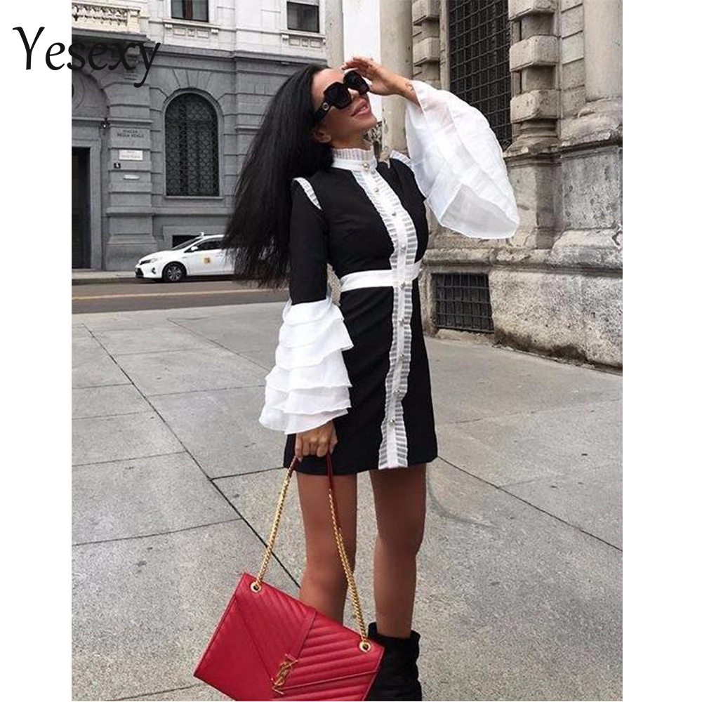 Yesexy 2020 Women Sexy Patchwork Women Mini Dresses Ruffles High Neck Flare Sleeve Button Bodycon Dresses VR9017