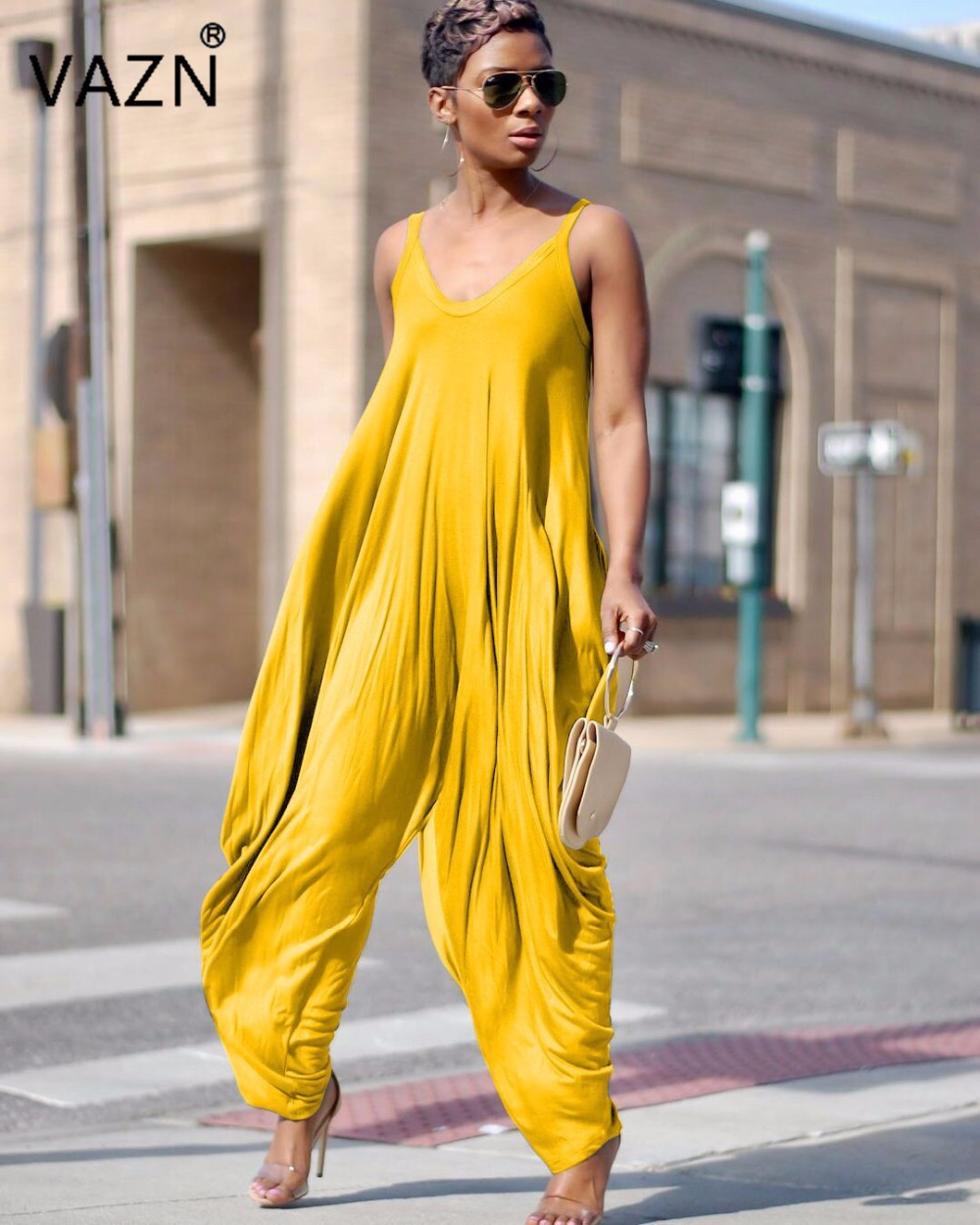 VAZN 2018 solid yellow spaghetti strap jumpsuits women sleeveless loose jumpsuits ladies hollow out full length jumpsuits LD8097