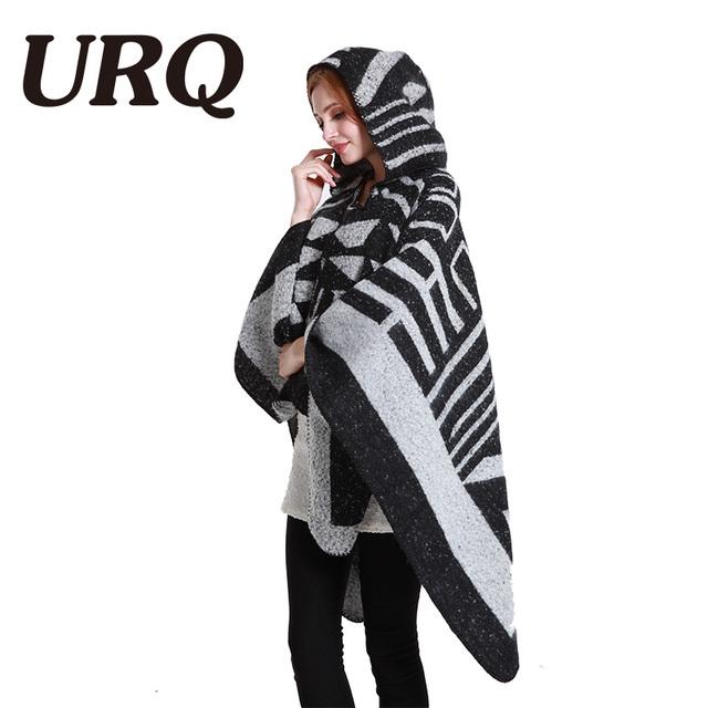 URQ women winter warm poncho shawl wrap geometric wild blanket cashmere Cape thick warm Poncho Shawl brand 2017 new