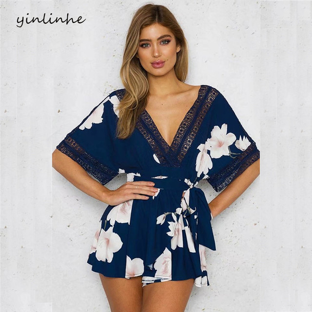 yinlinhe Short Sleeve Floral Summer Playsuit Blue Lace Hollow Out Backless Jumpsuit Women V neck Beach Boho Elegant Rompers 347