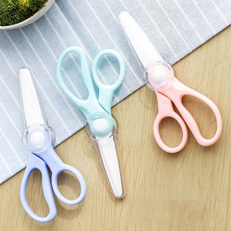 Ceramic Scissors Kitchen Office Scissors Brand Baby Food Supplement Food Supplement For Children Scissors Knife Random Color(China)