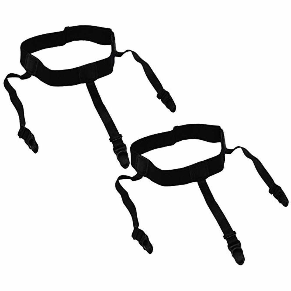 1 ペアメンズ調整可能なシャツ滞在ガーターミリタリーベルトと非スリップロッククランプ弾性シャツホルダーストラップ靴下