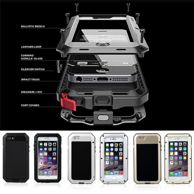 """Цена за Металл Экстрим противоударный Военная Heavy Duty закаленное стекло чехол кожи для iPhone 6/6 s 4.7 """"/плюс 5.5 """"всего тела Водонепроницаемый"""