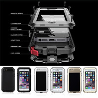 Metal Extreme Shockproof Military Heavy Duty Tempered Glass Cover Case Skin For IPhone 6 6S 4