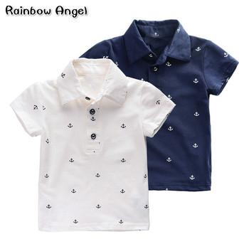 2019 letnie granatowe koszulki Polo dziecięce chłopięce koszulki Polo dziecięce bawełniane koszulki Polo bawełniane dziecięce marka odzieżowa najwyższa jakość 2-7 tanie i dobre opinie Drukuj Krótki Pasuje prawda na wymiar weź swój normalny rozmiar Przeciwzmarszczkowy JIAKAI COTTON Rainbow Angel K- anchor POLO